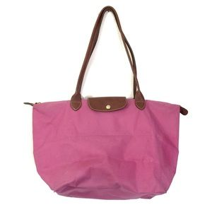 Longchamp pink brown leather large Le Pliage tote